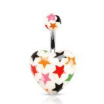 White Acrylic Heart with Multi-colored Star Print Belly Navel Ring