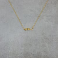 Love Birds on Branch Gold Necklace