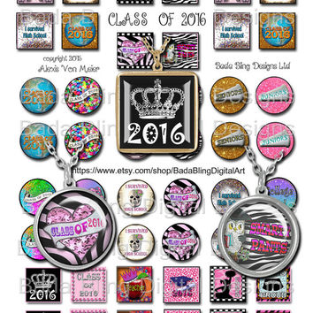 Class of 2016, inchies and 25mm circles,  INSTANT Digital Download,digital collage sheets for jewelry making, student jewelry