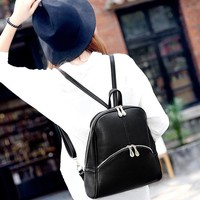 Womens Vintage Style Zipper PU Backpack Tote Bag Shoulder Bag