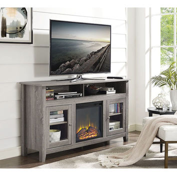 58-inch Driftwood Wood Highboy Fireplace TV Stand | Overstock.com Shopping - The Best Deals on Indoor Fireplaces