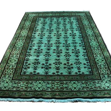 6x9 Overdyed Teal Green Deco Rug 2821
