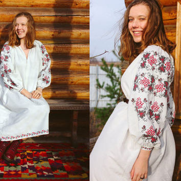 Antique Ukrainian Vyshyvanka / Hand Embroidered Hand Sewn White Cotton Dress: Red Black Berries & Flowers Cross Stitch Embroidery - S to M