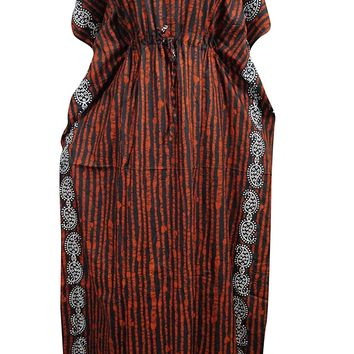 Womens Kaftan Dress Orange Lines Printed Kimono House Dresses XXXL