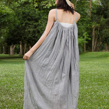 Hippie Boho Wedding Dress - Grey Boho Dress, Long Flowy Dress, Sundresses, Hippie dress, Plus Size Clothing, Gypsy Wedding Dress, Loose