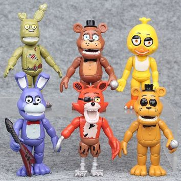 6pcs/set  10cm In Stock  At  4  Foxy Chica Bonnie Freddy Action Figures Kid Toy Christmas Gifts