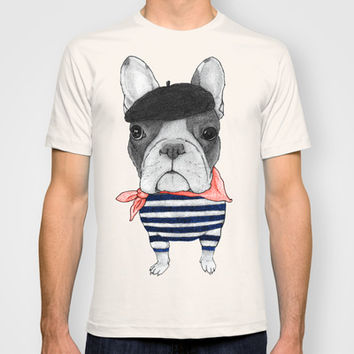 Frenchie with Arch de Triomphe T-shirt by Barruf