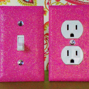 SET of Breezy Pink Glitter Switch Plate / Outlet Covers Any Styles