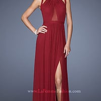 Long Red Sleeveless Dress with Cut Out Back by La Femme
