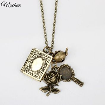 MQCHUN Beauty and the Beast Chain Necklace Vintage Bronze Phase Box Rose Mrs.Potts Chip Mirror Pendant Jewelry 2017 Hot Movie