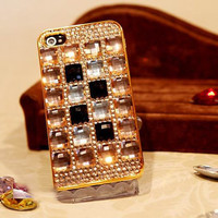 Handmade White/Black Rhinestion Gride iPhone case by delicatelife