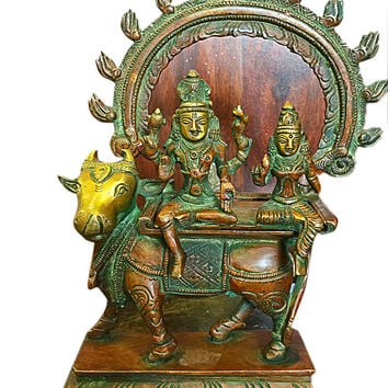 Indian Brass Sculpture God Shiva Ganesha Parvati Statue Hindu God Goddess Idol