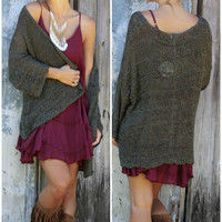 Warm Sentiments Oversized Olive Green Open Knit Cardigan