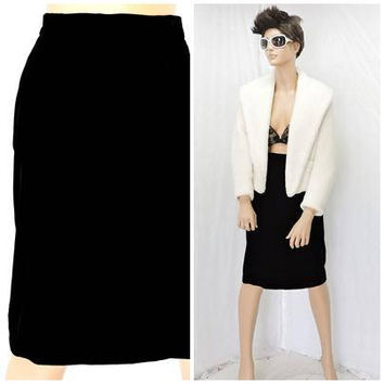 Black velvet pencil skirt / size M / 7  / 8 / plush deep black velvet high waisted skirt / retro 80s high waist black skirt