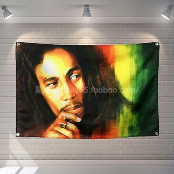 """""""bob marley"""" rock band poster banner 4 holes hanging flags 56X36 inches Games billiards hall decor wall background"""