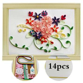 16 colorful,Quilling Paper Craft,Kits 14Pcs Tool set, Flower 1