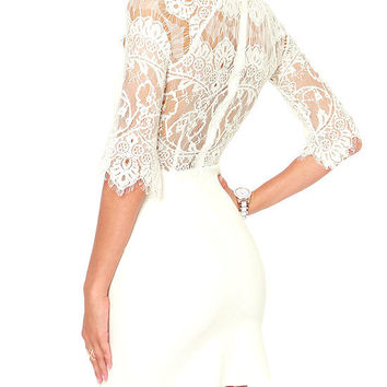 Lace Bodycon Mini Dress with Sleeve