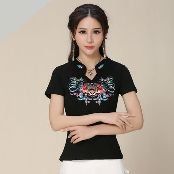 cf433c30 Mexican Style Stand Collar Embroidery Blouse Women Shirt