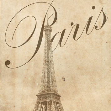Paris France Photography - Eiffel Tower Vintage Style Photograph Travel Print Text Photo Paris Decor - Scenic Photograph - Wall Art