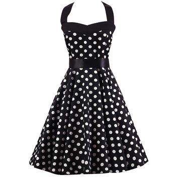 Black And White Polka Dot Print Halter Dress