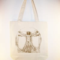 DaVinci Vitruvian Man on 15x15 tote, - available in other tote sizes/image colors