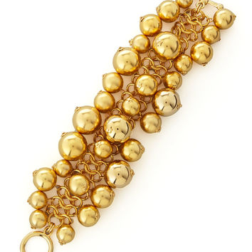 Golden Beaded Cluster Toggle Bracelet - Kenneth Jay Lane