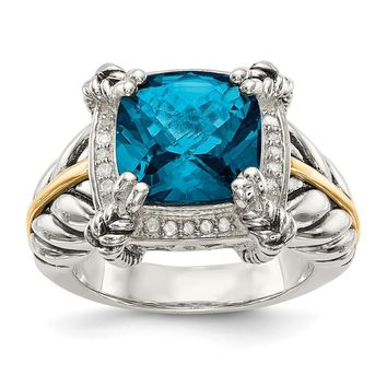 Sterling Silver Two Tone Silver And Gold Plated Sterling Silver w/London Blue Topaz w/Diamond Ring