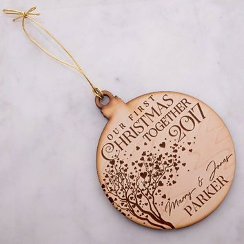 P Lab Personalized Our First Christmas 2017 Ornaments for Christmas Tree Size: 4.8 inches, Christmas Ornaments, Engraved Wooden Ornament #8