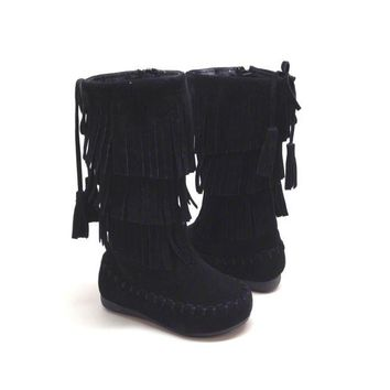 Black Fringe Boot for Toddlers