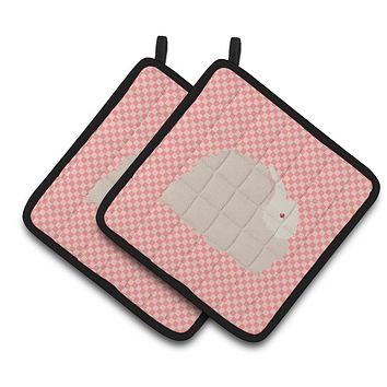 Fluffy Angora Rabbit Pink Check Pair of Pot Holders BB7959PTHD