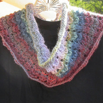 Knit Multicolor Cowl, Neck Piece, Infinity Scarf, Soft Wool Acrylic Blend, Striped Lace Pattern in a Heathered Red, Blue, Green, Amazing