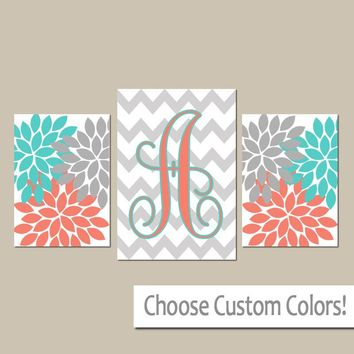Turquoise Coral Wall Art, CANVAS or Prints, Girl Nursery Art, Bedroom Art, Gray Chevron Monogram, Flower Burst, Set of 3, Home Decor