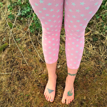 bubblegum pink star Leggings capri pants lycra retro 80s