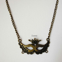 Mask Antique Bronze Necklace - Long Necklace - Carnaval - Party - Gift - Bronze