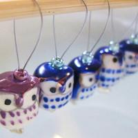 HOOT HOOT - Navy Blue Ceramic Owl Stitch Markers
