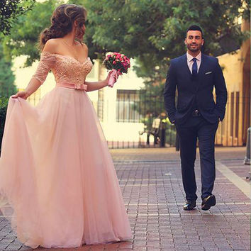 Arabic Pink Long Vestidos De Festa Lace Beaded Off the Shoulder Evening Dresses Half Sleeves Formal Gowns For Valentine's Day
