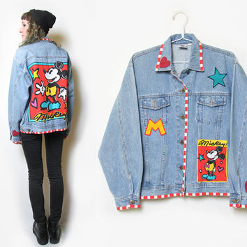 90s Mickey Mouse Denim Patched Jacket // Size L // Mickey & Co // 1990s Mickey Mouse Jean Jacket