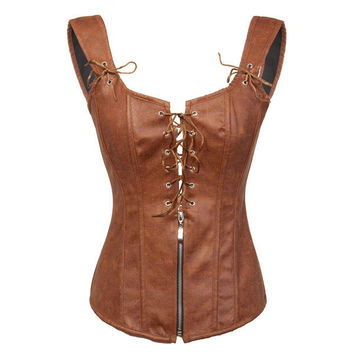 Leather Zipper Lacing-Up Front Sexy Garters Corset Vest