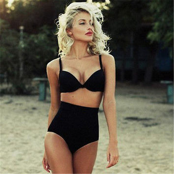 High waist swimsuit Vintage high waisted bikini swimsuit retro high waisted bathing suits biquinis Solid bikini retro swimwear
