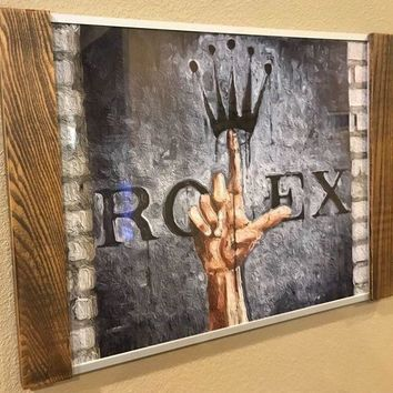 GTOW Rolex watch store display art picture 16¡± x 22¡± metal & Wood frame! Stunning!