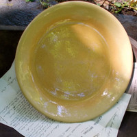 Antique French Yellow Ware Pottery Pie Plate - Cottage, Farm, and Country Kitchen - Really Lovely!