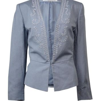 Tahari Women's Bead Embellished Long Sleeve Linen Blazer