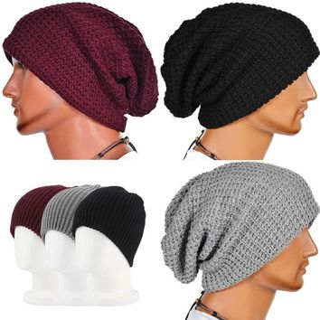 Men Women Warm Knit Ski Beanie Skull Hat Winter Cable Crochet Slouch Hip Hop Cap