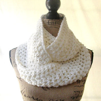 Ivory Infinity Scarf Crochet Scarf Cowl Loop Circle Women's Accessory Ready To Ship