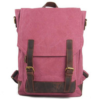 Lixmee canvas leather casual school backpack