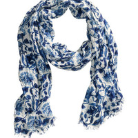 H&M - Patterned Scarf - Blue/Patterned - Ladies