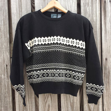 Vintage Womens LIZ WEAR Black Fair Isle Sweater - USA - Size S / M