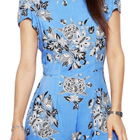 Light Blue Floral Short Sleeve Rompers
