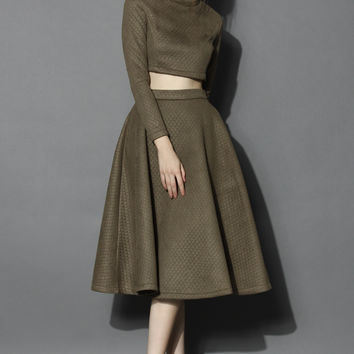 Quilted Crop Top and Midi Skirt Set in Olive Green