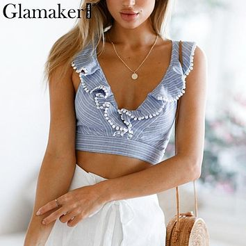 Glamaker Elegant ruffle stripe print tank top Sexy V backless winter crop top cami Women lace up casual camisole tank blouse